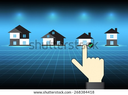 Home model and hand on dark background. - stock vector