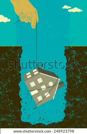 Home mortgage debt bailout A large hand offering financial assistance by lifting a woman and her house out of the huge hole of debt created by the housing crisis.  - stock vector