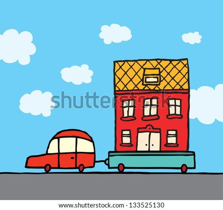 Home moving / Car and trailer relocating house - stock vector