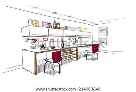 Home office interior sketch. - stock vector