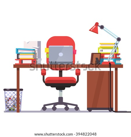 Home or office desk with casters chair, laptop computer, some papers, binders and table lamp. Front view. Flat style color modern vector illustration. - stock vector