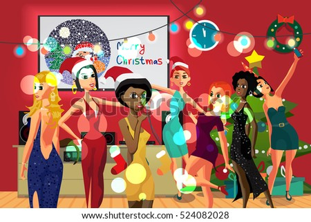 Home Party New Year or Christmas. Girls dancing in a room decorated for the holiday. Flat cartoon vector illustration