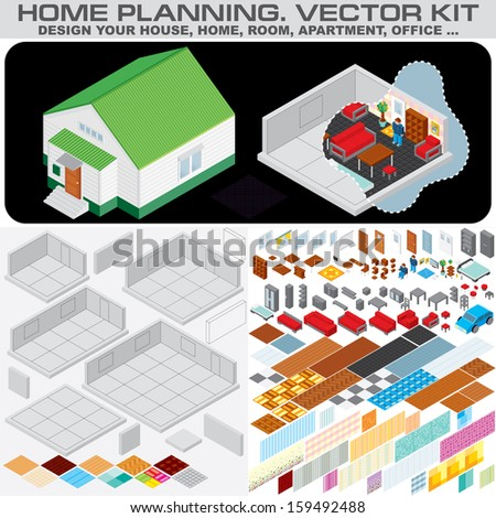 Home Planning Set. Isometric Vector Kit for Design and Decorate Your Home, Room, Apartment or Office Interior... - stock vector