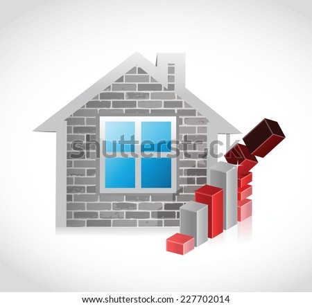 home prices falling concept illustration design over a white background - stock vector