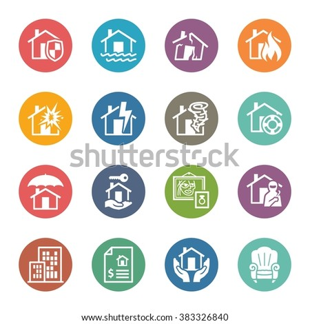 Home Protection Icons - Colored Series - stock vector