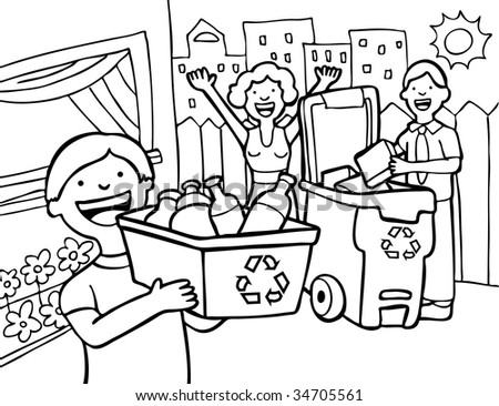 Home Recycling Family Line Art