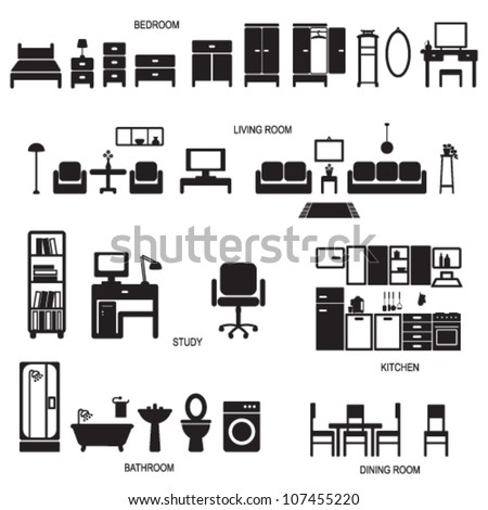Home related icons 1 - stock vector