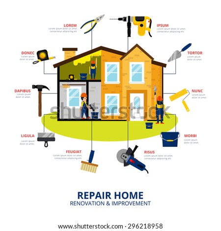 Home renovation and improvement flat style concept with workmen repair house with hand and power tools vector illustration - stock vector