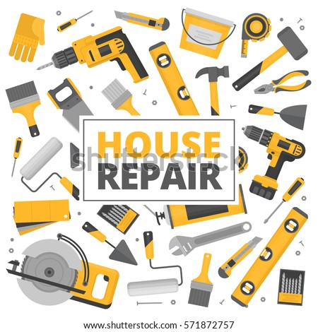 home repair banner construction tools hand tools for home renovation and construction flat