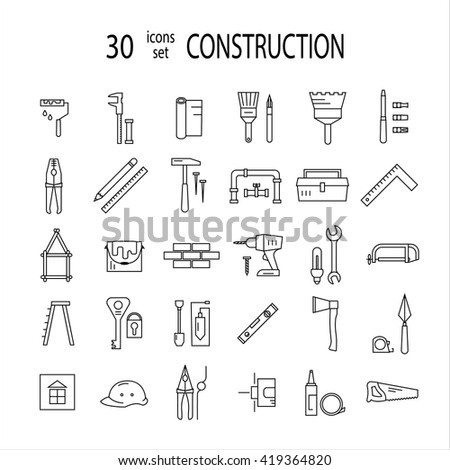 Home repair icons set.Modern line style labels. - stock vector