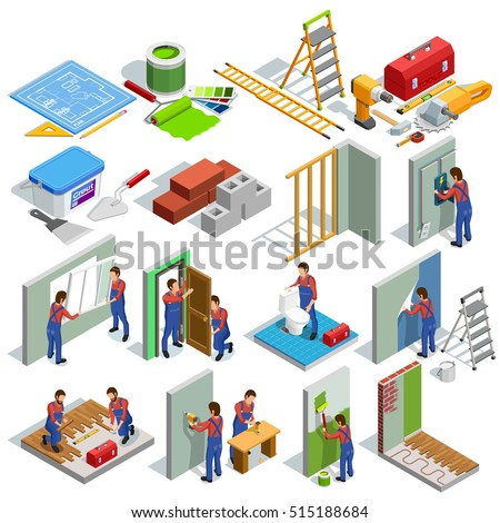 Home repair isometric icons set of different renovation procedures workers and tools isolated vector illustration