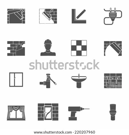 Home repair renovation and construction tools black icons set isolated vector illustration - stock vector