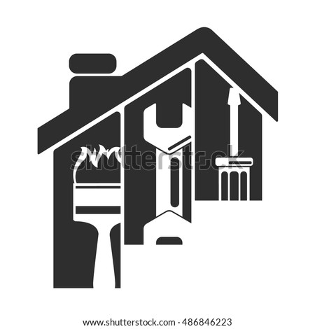 Home repair symbol, tool under the roof silhouette