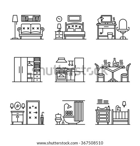 Home room types furniture signs set. Thin line art icons. Linear style illustrations isolated on white. - stock vector