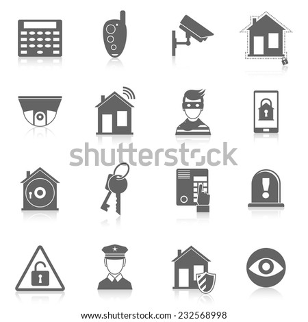 Home security burglar alarm system black icons set isolated vector illustration - stock vector