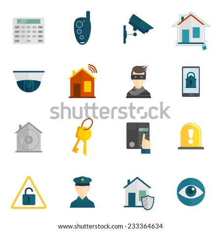 Home security icons flat set with police surveillance camera safety system isolated vector illustration - stock vector