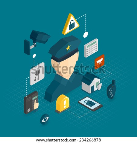 Home security smart house protection concept with isometric decorative icons set vector illustration - stock vector