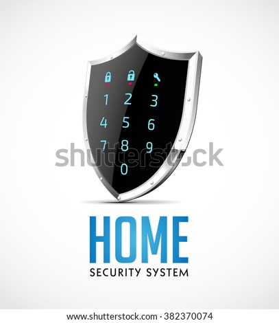 Home security system - access controller as protection shield  - stock vector