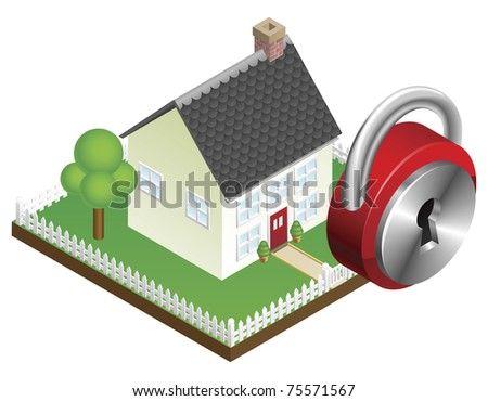 Home security system concept, suburban family home and padlock icon - stock vector