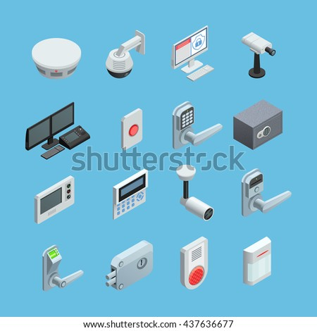 Home security system elements isometric icons collection with surveillance motion sensor camera with alarm abstract isolated vector illustration  - stock vector