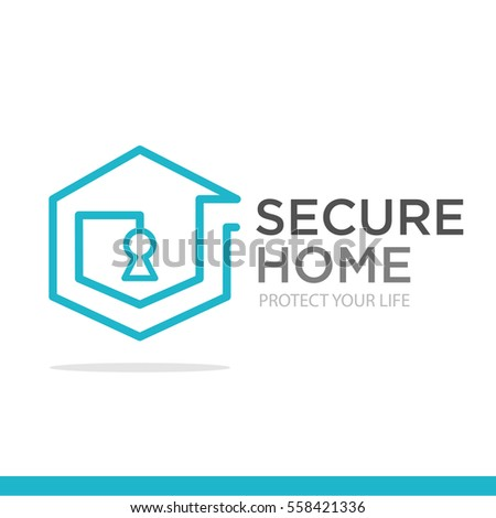 Home Security System Logo. Guard Blue Symbol. Privacy Concept Sign In Flat  Style.