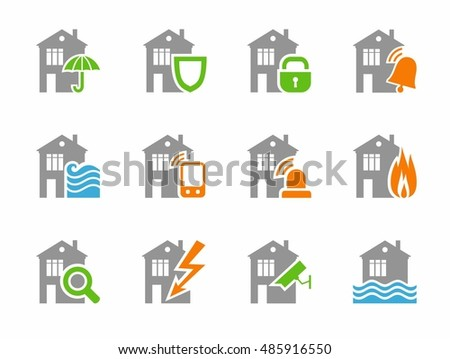 Home security systems, home insurance, flat icons, gray, colored. Threat to the security of residential and work premises. Vector gray and orange or gray-green icons on a white background.