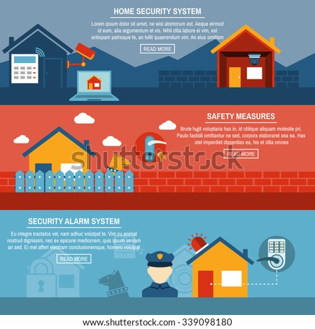 Home Security Flat Banner Set Smart Stock Vector 235914817