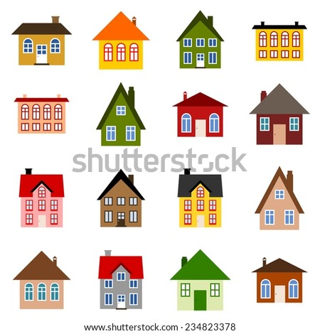 Home set - colorful house icon collection. Illustration group.
