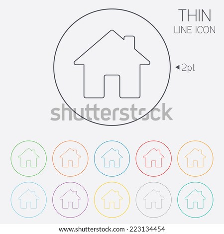 Home sign icon. Main page button. Navigation symbol. Thin line circle web icons with outline. Vector - stock vector