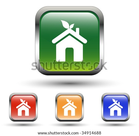 Home Sign Square Icons - stock vector