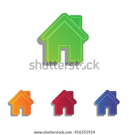 Home silhouette illustration. Colorfull applique icons set. - stock vector