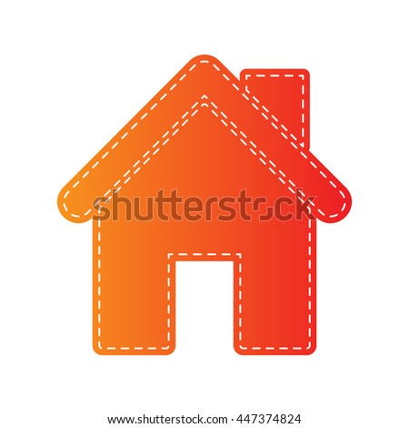 Home silhouette illustration. Orange applique isolated. - stock vector