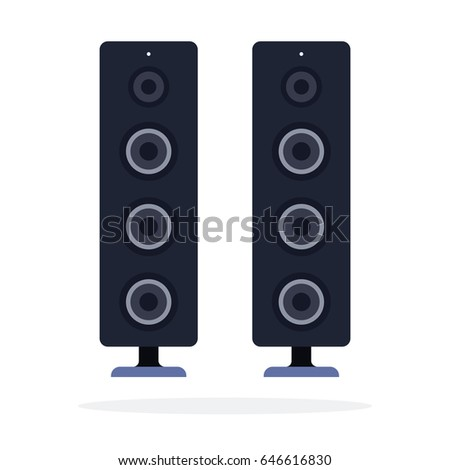 home stereo system vector flat material design isolated on white