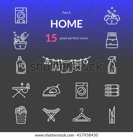 Home stuff outline icon set of 15 thin modern and stylish icons. Part 6 - laundry. White line version. EPS 10. Pixel perfect icons. - stock vector