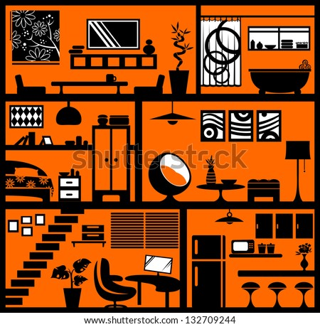 home styling. Each element is grouped separately for easy editing (JPEG available in my gallery) - stock vector