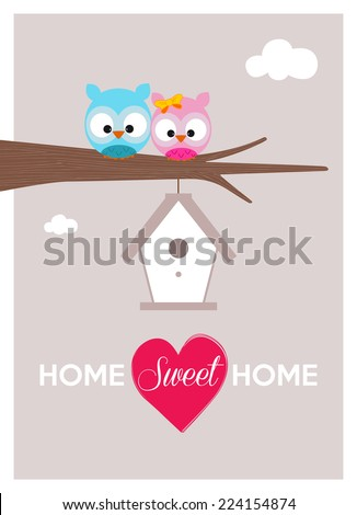 home sweet home, a couple of owls near their cozy nest during a sunny day - stock vector