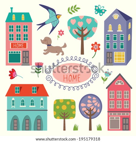 Home sweet home colorful set - stock vector