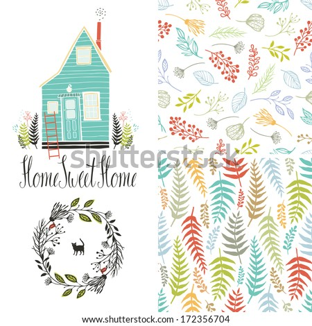 Home sweet home, floral fern patterns and round frame - stock vector