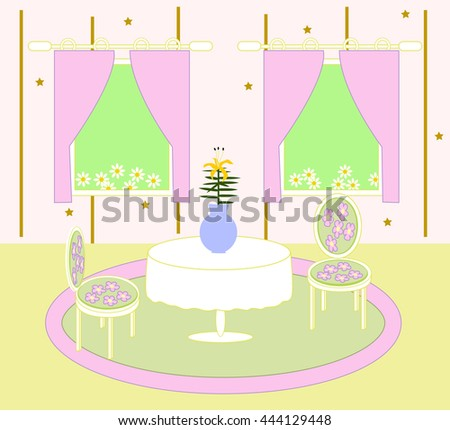 Home sweet home. Living room with table and chairs. - stock vector