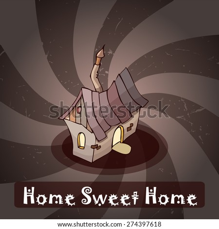 Home Sweet Home Retro Card, Vector Illustration.  - stock vector