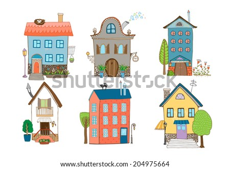 Home Sweet Home - set of hand-drawn vector houses in different architectural styles with plants and trees isolated on white - stock vector