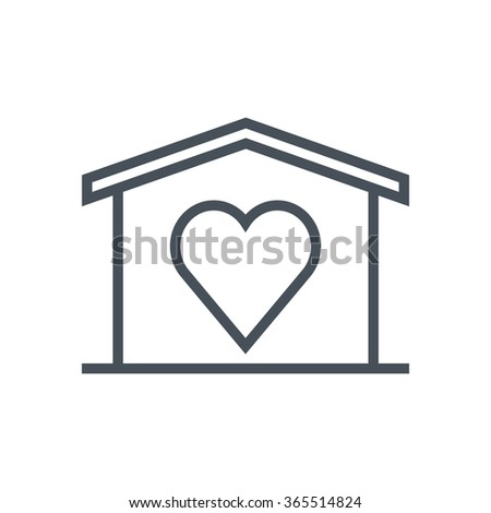 Home sweet home, valentines day house icon suitable for info graphics, websites and print media. Vector, flat icon, clip art. - stock vector