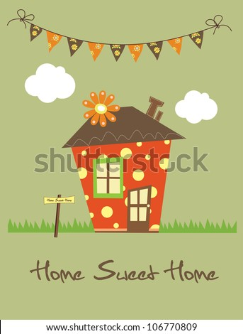 home sweet home vector illustration stock vektor 106770809 shutterstock. Black Bedroom Furniture Sets. Home Design Ideas