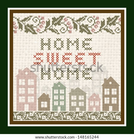 Home Sweet Home Vintage Background - stock vector