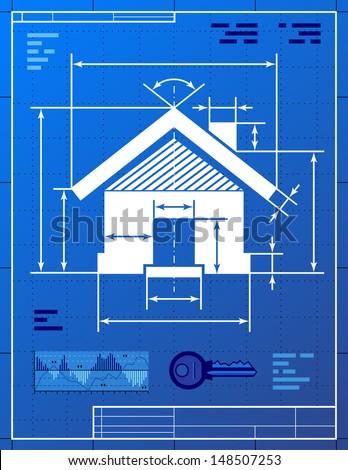 Home symbol like blueprint drawing stylized stock vector 148507253 home symbol like blueprint drawing stylized drawing of house sign on blueprint paper qualitative malvernweather Image collections
