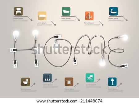 Home text concept with creative light bulb ideas, With furniture flat icons set abstract info graphic banner workflow layout, diagram, step up options, Vector illustration modern design template - stock vector