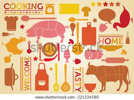 Home texture with cooking theme. Vector - stock vector