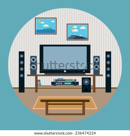 Home theater flat vector illustration - stock vector