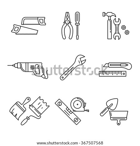 Home tools and hardware set. Thin line art icons. Linear style illustrations isolated on white. - stock vector