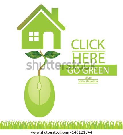 Computer Mouse Tree Design Go Green Stock Vector 146121335